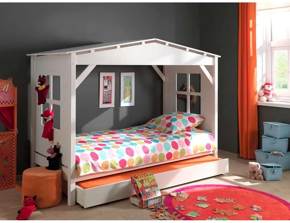 Vipack huisbed Pino met onderbed - wit - 160,5x109,5x217 cm - Leen Bakker