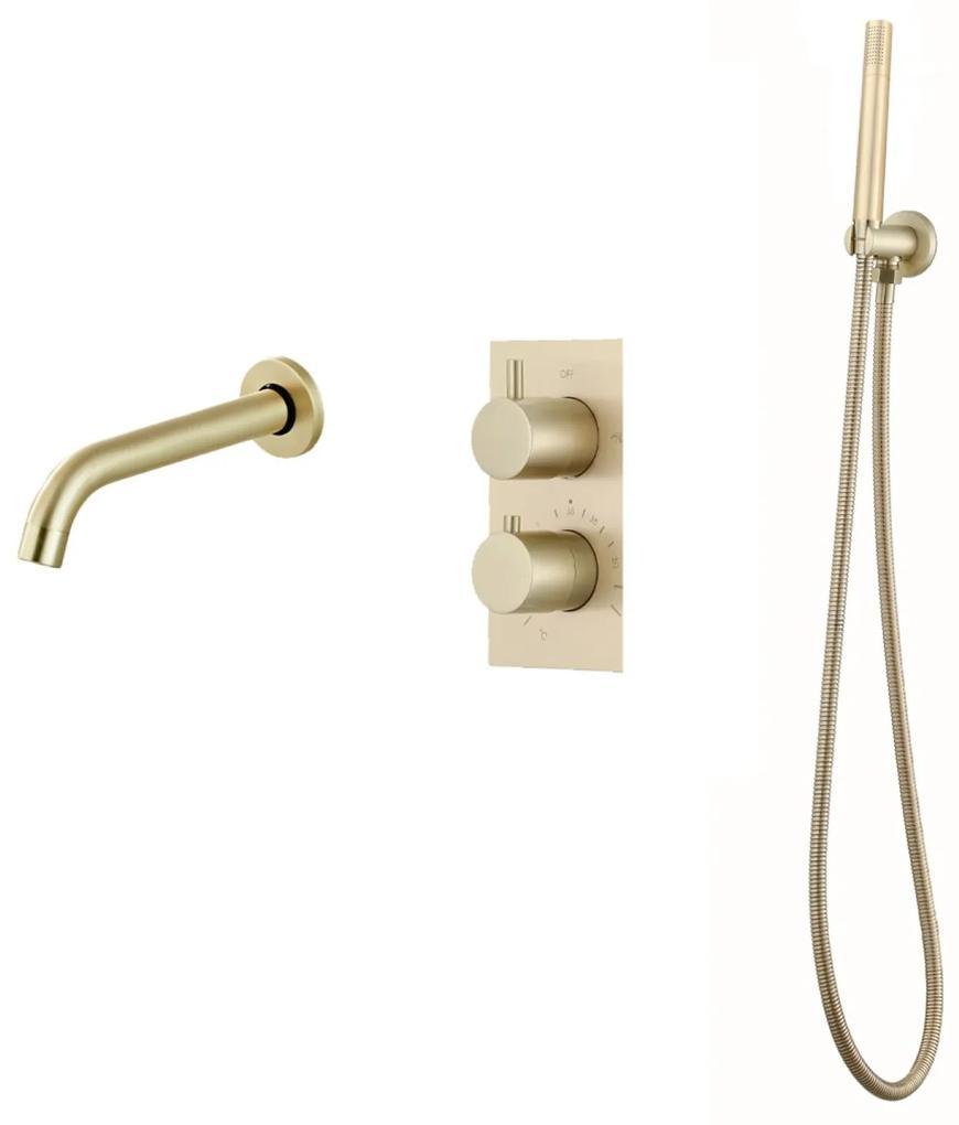 Inbouw Badkraan Boss & Wessing Gold Thermostatisch met Handdoucheset Mat Goud