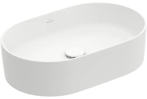 Villeroy & Boch Collaro opzetwastafel ovaal 56x36cm zonder overloop zonder kraangat ceramic+ stone white 4A1956RW