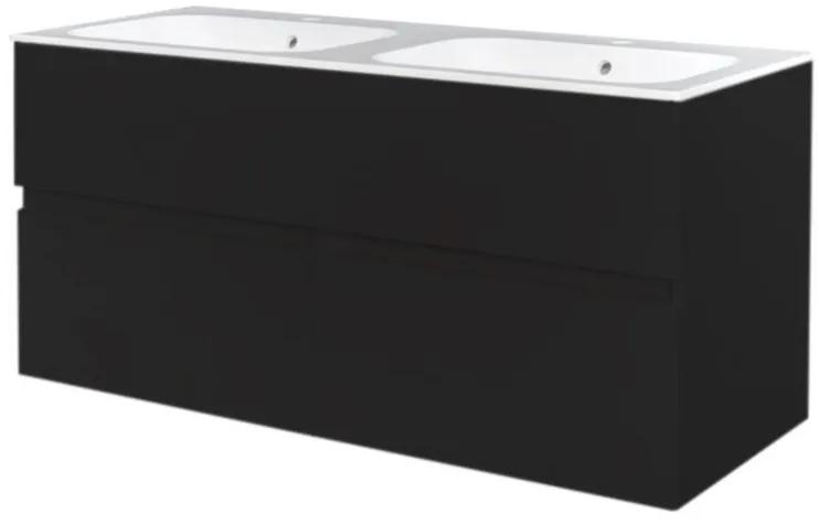 Best Design Black Quick greeploze badkamermeubel met 2 kraangaten 120 cm mat zwart