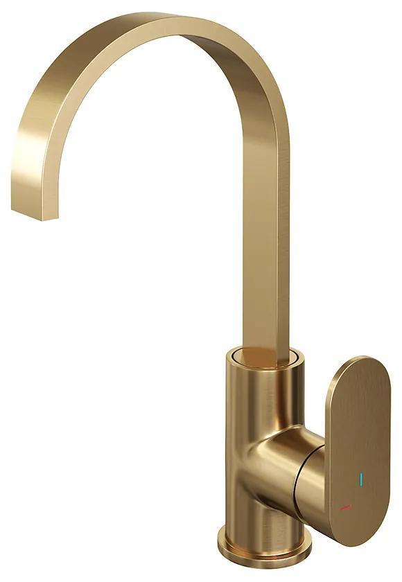 Brauer Gold Edition wastafelmengkraan platte uitloop en brede hendel 29cm goud