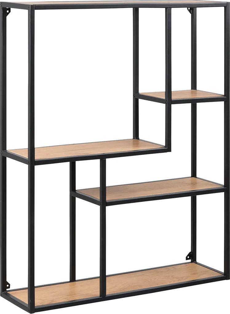 Lisomme Industriële Wandkast Vic Hout 3 Planken Smal Wandkasten Woood Moos Wandkast Coogee Open Kast Boekenkasten Staal