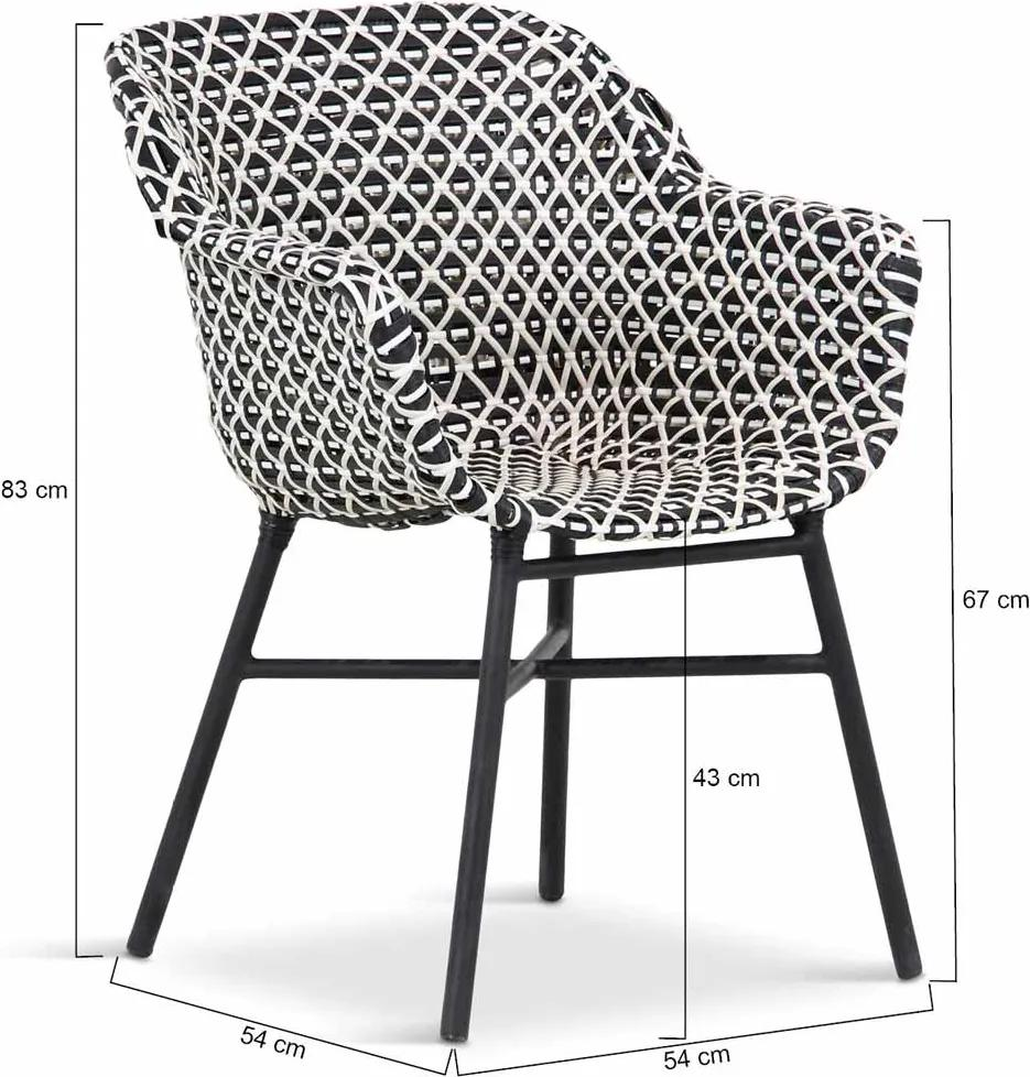 Delphine Dining Chair (without cushion) Nouveaux rotin white-black