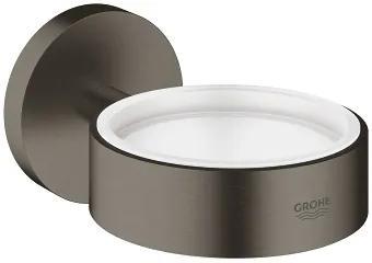 Essentials houder voor glas/zeepschaal hard graphite geborsteld