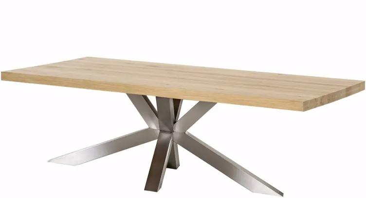 Eiken Eettafel houten eettafel Orléans XX-poot RVS - Rechthoek