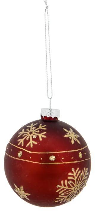 Kerstbal bies - bordeaux/goudkleurig - glas