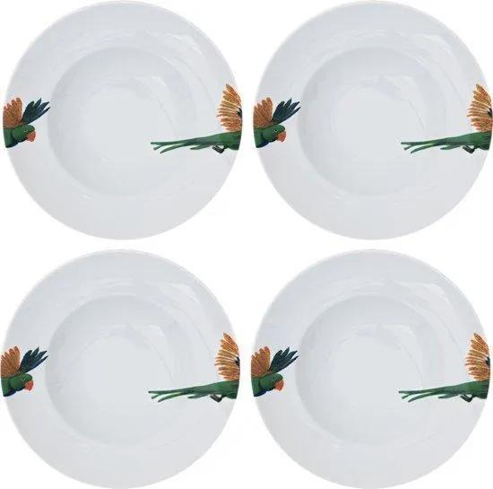 Catchii | 4x pastaborden 27 cm Lovebird diameter 27 cm wit, groen, geel borden porselein koken & tafelen servies
