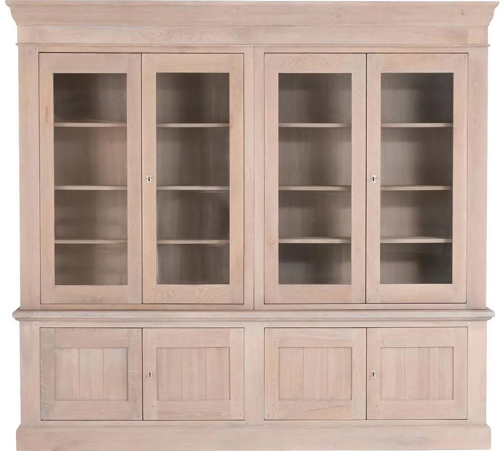 Goossens Buffetkast Westwood, 4 glasdeuren 4 dichte deuren, blank eiken, 244 x 225 x 45 cm, stijlvol landelijk