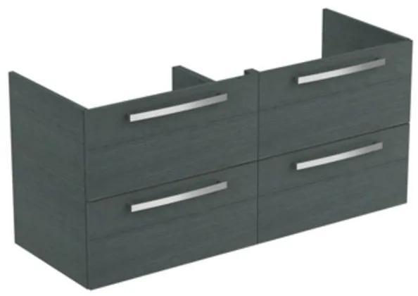 Ideal Standard Tiempo wastafelonderbouwkast met 4 laden 120x44x55cm t.b.voor dubbele wastafel E0534 grijseiken E0539SG