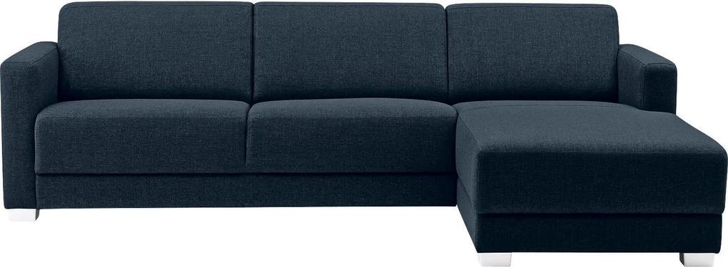 Goossens Bank My Style Met Chaise Longue blauw, stof, 2,5-zits, stijlvol landelijk met chaise longue rechts