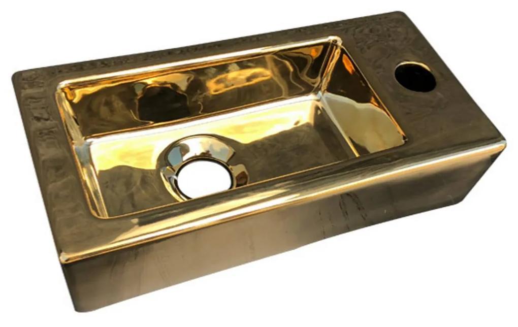 Fontein Best Design Farnetta 37x18x9cm Kraangat Rechts Glans Goud