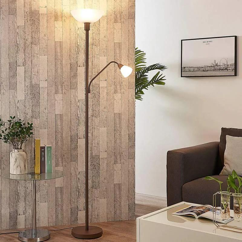 Roestkleurige LED vloerlamp met extra leeslamp