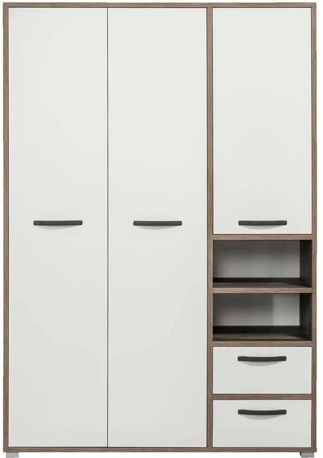 Kledingkast Mono 3-deurs - wit/steigerhoutlook - 201x138x57 cm - Leen Bakker