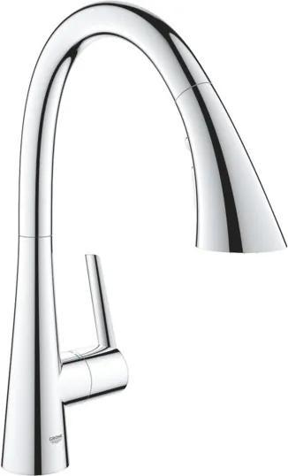 Grohe Zedra keukenmengkraan eengreeps eengatsmontage met keramische schijven draaibare buisuitloop flexibele aansluitslangen met uittrekbare sproeier chroom 32294002