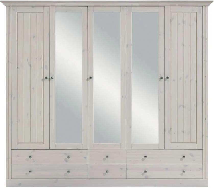 Kledingkast Monaco 5-deurs - white wash - Leen Bakker