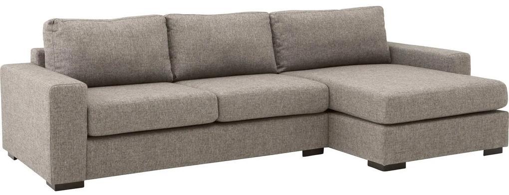 Goossens Bank Lucca Met Chaise Longue grijs, stof, 2,5-zits, stijlvol landelijk met chaise longue rechts