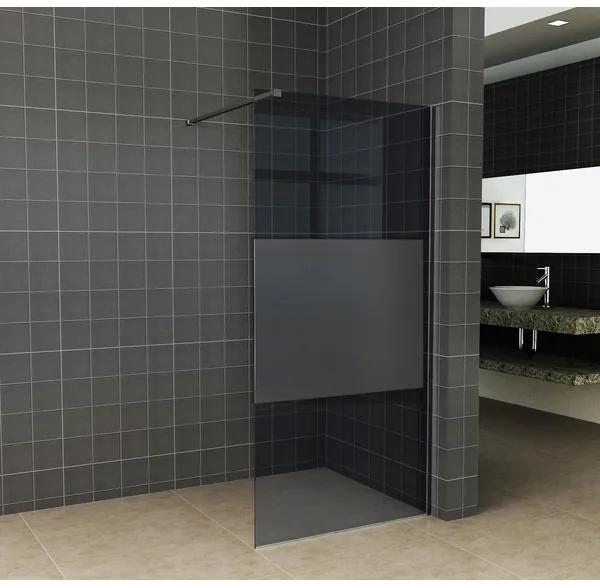 Saniclass Bellini inloopdouche 100x200cm 8mm nano glas gedeeltelijk mat rookglas mat zwart SW203911/SW373479