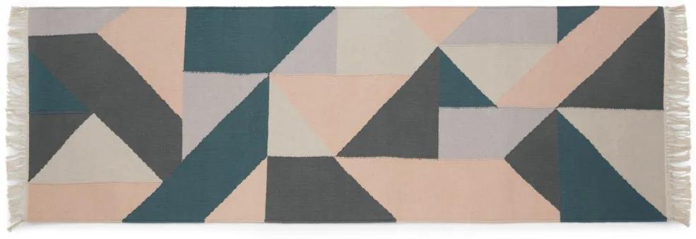 Holden geometrisch geweven loper van katoen, 66 x 200 cm, meerkleurig