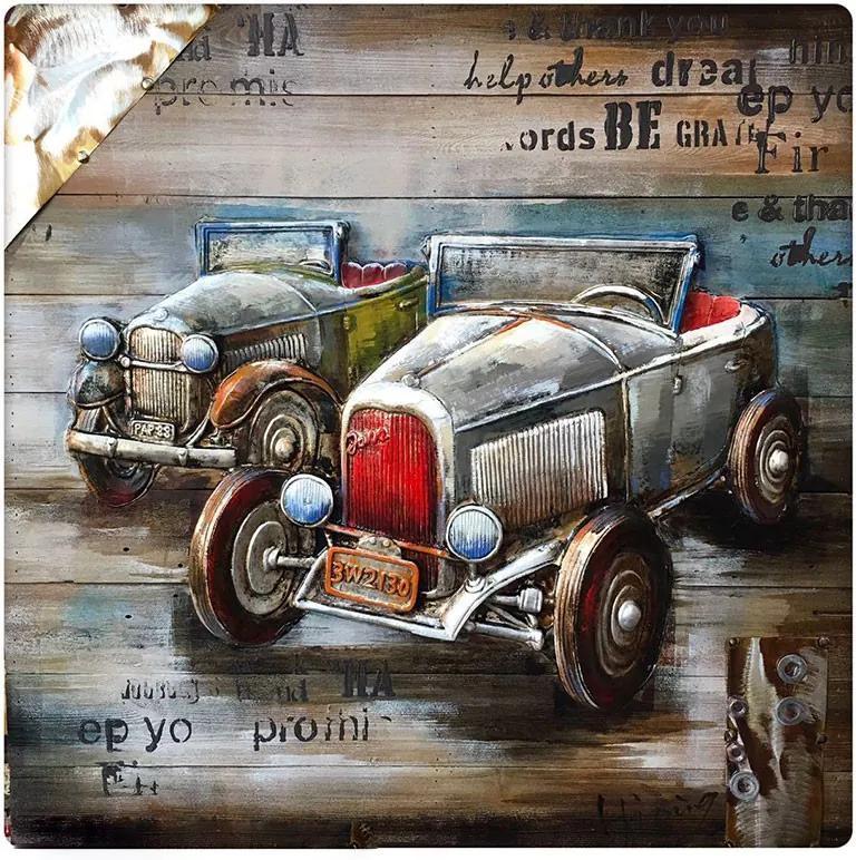3D houten schilderij twee autos