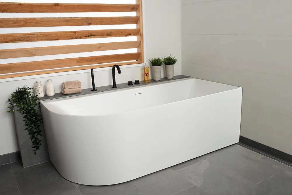 Luca Primo halfvrijstaand bad rechts 180x80x60cm ovaal acryl mat wit