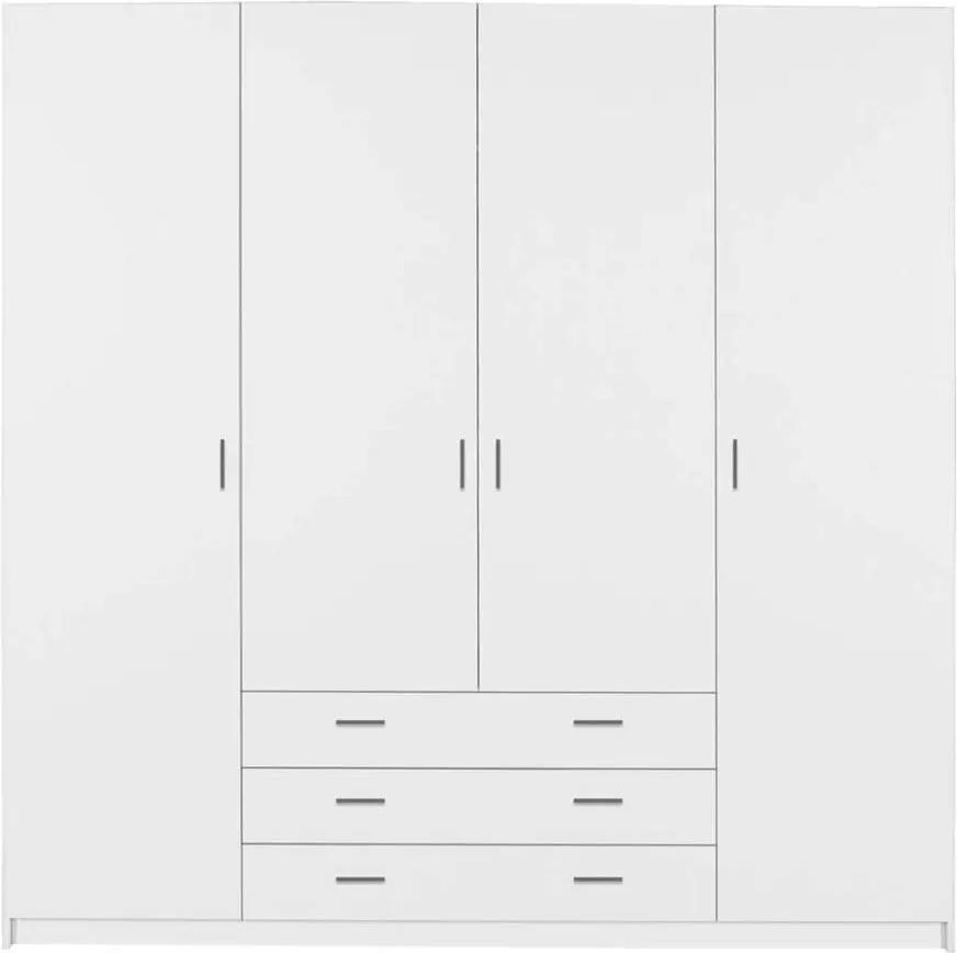 Kledingkast Sprint 4-deurs - wit - 200x196x50 cm - Leen Bakker
