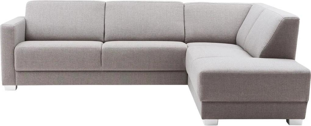 Goossens Hoekbank My Style lichtgrijs, stof, 2,5-zits, stijlvol landelijk met ligelement rechts