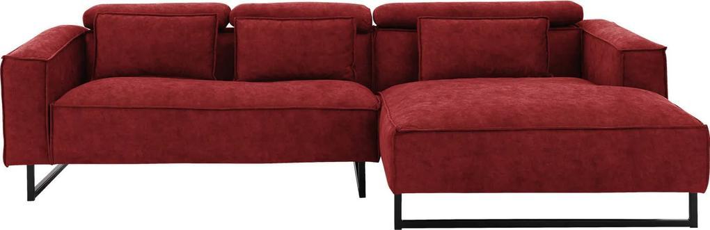 Goossens Bank Rovato rood, stof,  met chaise longue rechts