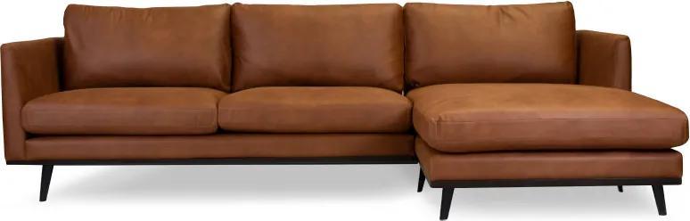 Loungebank Odissi chaise longue rechts | leer Kentucky cognac 09 | 2,58 x 1,60 mtr breed