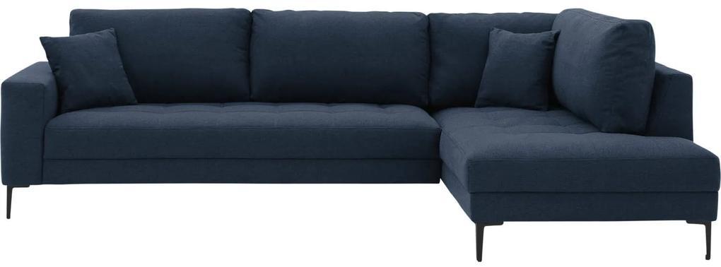 Goossens Hoekbank Coco blauw, stof, 3-zits, stijlvol landelijk met ligelement rechts