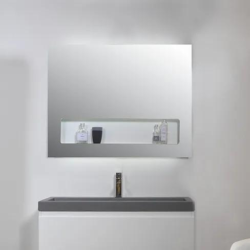 Spiegel SP8 90 x 80 cm met geïntegreerd planchet en indirecte LED verlichting boven/onder/binnen