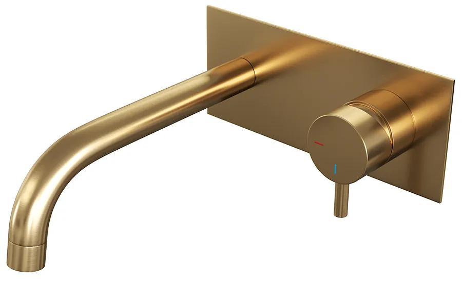 Brauer Gold Edition inbouw wastafelmengkraan kleine ronde hendelstaaf 20x9cm goud