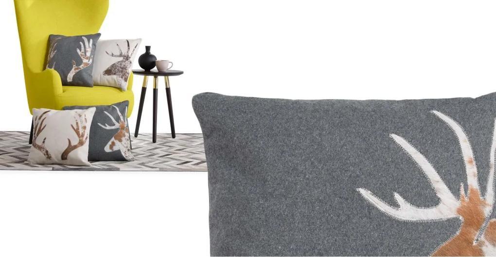 Glencoe kussen met hert 45 x 45cm, grijs