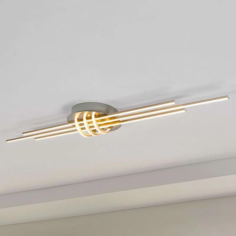 Rechtlijnige LED plafondlamp Leart, nikkelkleurig