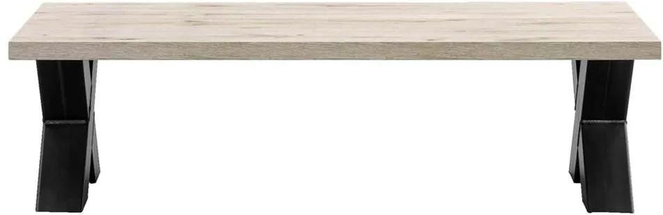 Salontafel Jens - grijs eikenkleur/zwart - 38x135x67,5 cm - Leen Bakker
