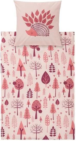 Kinder dekbedovertrek 140 x 200 cm Egel/roze