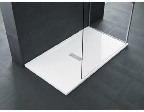 Novellini Ultra flat douchebak acryl rechthoekig met antislip 140x70x3.5cm incl. sifon wit CU140704A30