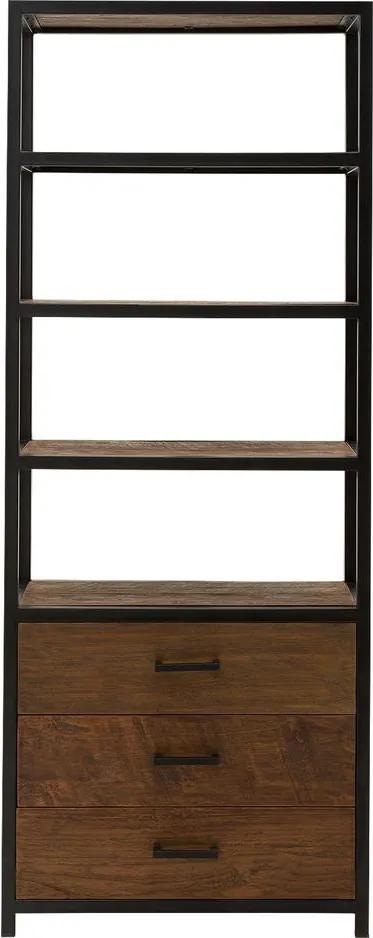 Goossens Eco Boekenkast Heritage, 80 cm breed, 3 laden, 4 open vakken