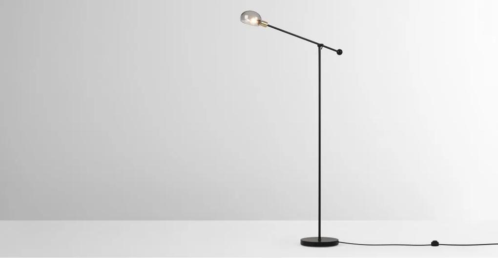 Tangle staande lamp, matzwart, antiek messing en rookglas