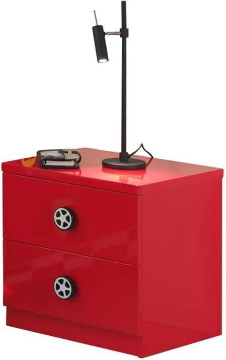Vipack nachtkastje Monza - 2 lades - rood - Leen Bakker