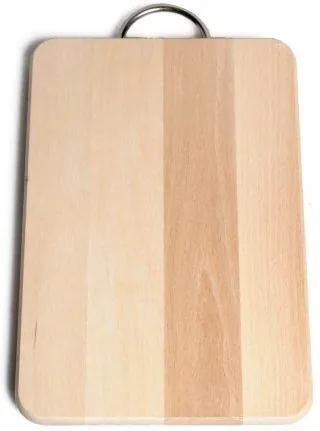 Snijplank met rvs handvat, beukenhout, 27,5 x 18,5 cm