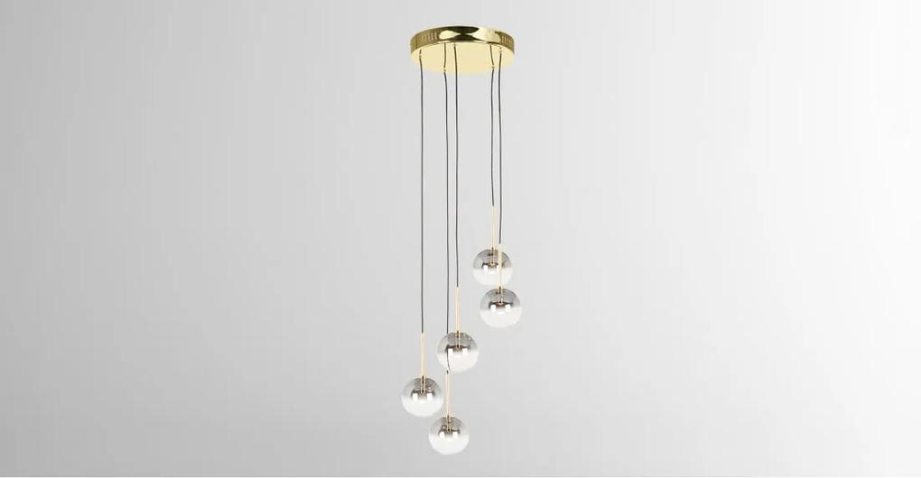 Onyx LED hanglamp, messing en grijs ombre glas