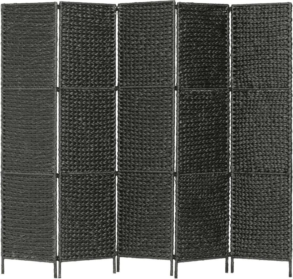 Kamerscherm met 5 panelen 193x160 cm waterhyacint zwart