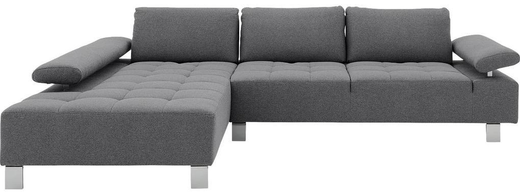 Goossens Hoekbank Alvin grijs, stof, 3-zits, modern design met chaise longue links