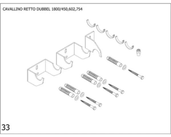 Plieger Cavallino Retto bevestigingsset designradiator dubbel Cavallino Retto breedte 450/602/754mm antraciet metallic (S02) 7253814