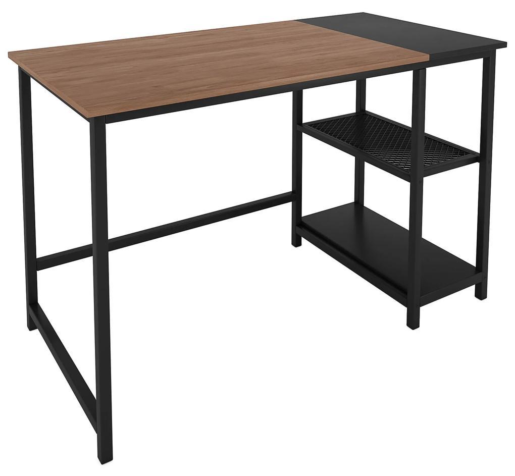 Nancy's Westminster Bureau - Computertafel - Kantoortafel - Opbergruimte - Muismat - Bewerkt Hout - Gepoedercoat Staal - Zwart Bruin - 120 x 60 x 75 cm