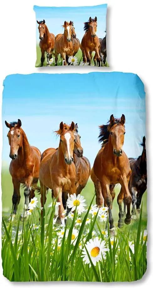 Good Morning kinderdekbedovertrek Paarden - multikleur - 140x200/220 cm - Leen Bakker