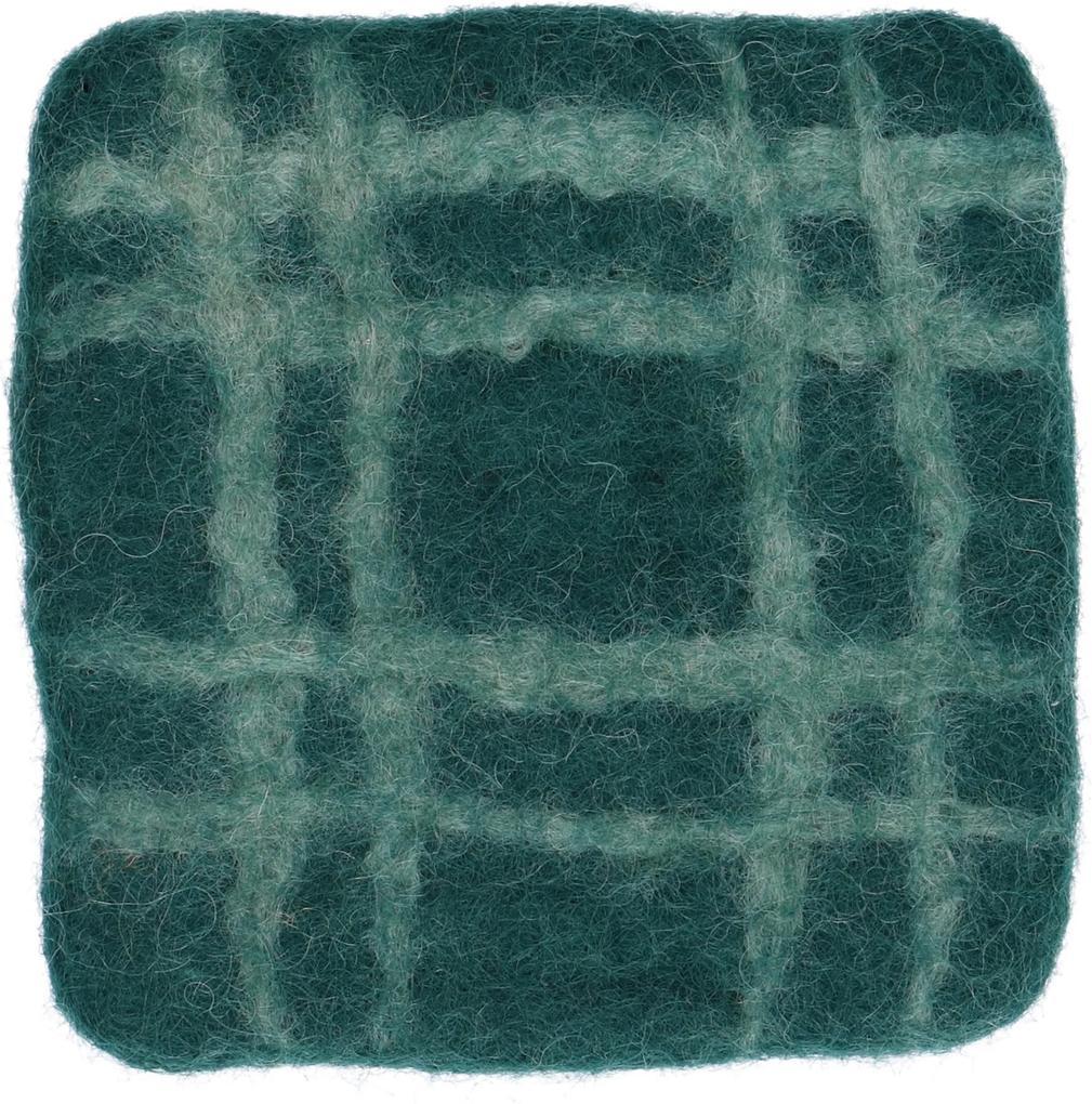 Onderzetter, vilt, donkergroen geruit, 10 x 10 cm