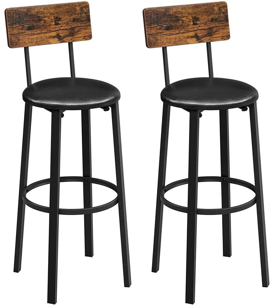 Nancy's Gordon Barkrukken 2 Stuks - Barstoelen met Voetensteun - Barkruk Industrieel - Industrieel - Stabiel - 37 x 46,5 x 99 cm (L x B x H)