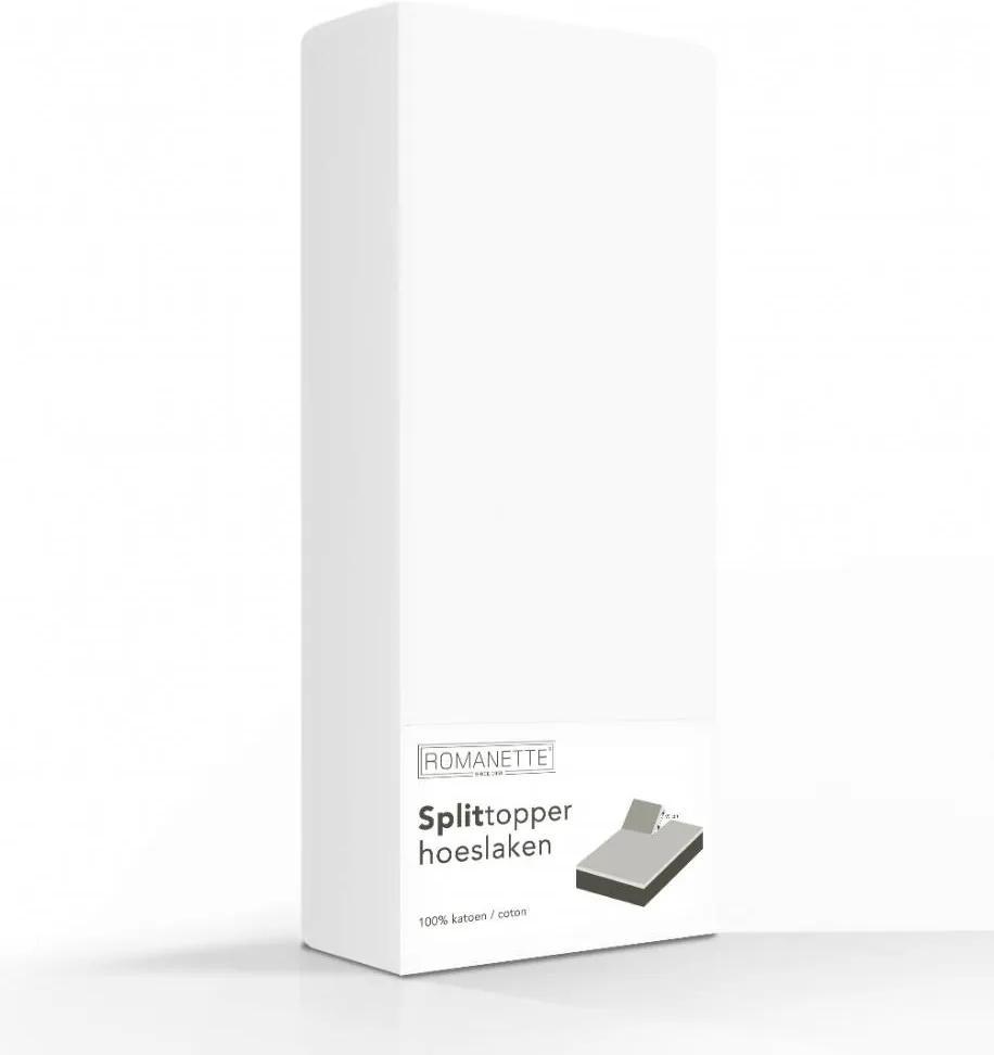 Romanette Luxe Splittopper Katoen - Wit 160 x 200