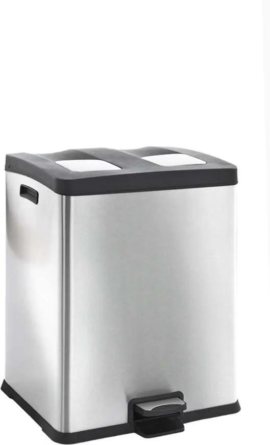 EKO recycling pedaalemmer Rejoice - zilverkleurig - 2x30l - Leen Bakker